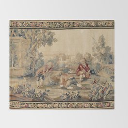 Aubusson  Antique French Tapestry Print Throw Blanket
