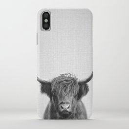 Highland Cow - Black & White iPhone Case