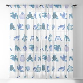 Baby sea turtles Sheer Curtain