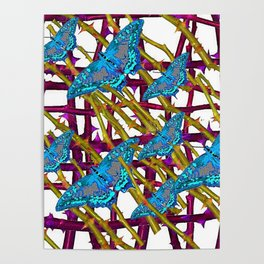 BLUE MOTHS ON ABSTRACT PURPLE THORN BRANCHES Poster