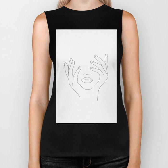 Minimal Line Art Woman with Hands on Face Biker Tank