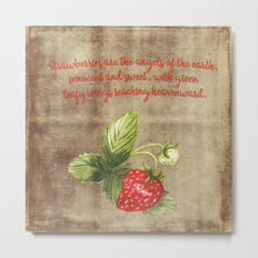Strawberry Strawberries Fruits Summer Typography and Illustration Metal Print
