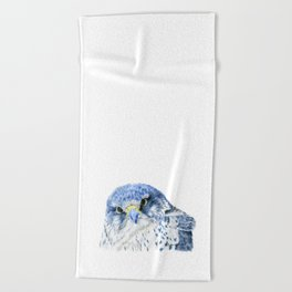 """""""Here's Looking At You"""" painting of a Gyrfalcon by Teresa Thompson Beach Towel"""