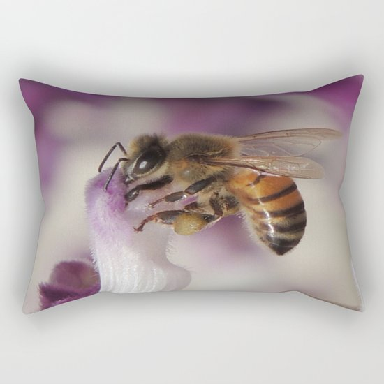 Worker Bee on Mexican Sage Rectangular Pillow