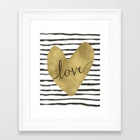 gold foil Framed Art Prints featuring Love gold foil heart by Retro Love Photography