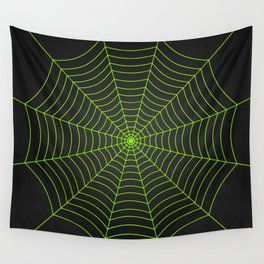 Neon green spider web Wall Tapestry