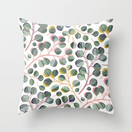 Simple Silver Dollar Eucalyptus Leaves Throw Pillow