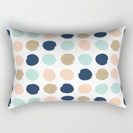 Wren - Pastel Brush Stroke Minimal Dots with glitter  Rectangular Pillow