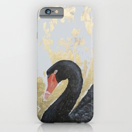 BLACK SWAN with gold leaf  iPhone Case