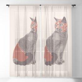 Cat Wrestler Sheer Curtain