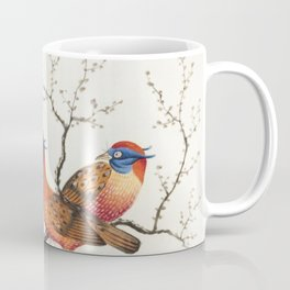 Chinese painting featuring two pheasant-like birds with flowering plants (ca1800-1899) from the Miri Coffee Mug