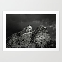 Crazy Horse Monument in Black and White Art Print