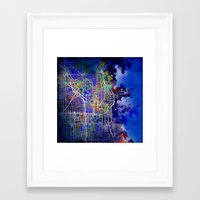 chicago map Framed Art Prints featuring chicago by Bekim ART