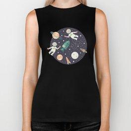 Lunar Spacewalk - Coral + Teal Biker Tank