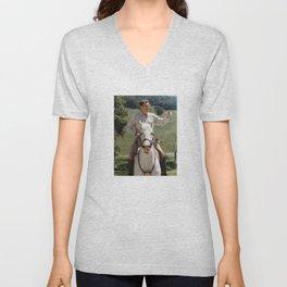 Ronald Reagan On Horseback Unisex V-Neck