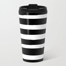Black and White Stripes Abstract Modern Travel Mug