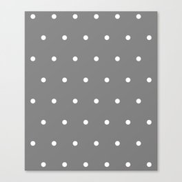 Grey With White Polka Dots Pattern Canvas Print