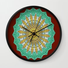 Lovely Healing Mandala  in Brilliant Colors: Burnt Orange, Green, Wheat, Gray, and White Wall Clock