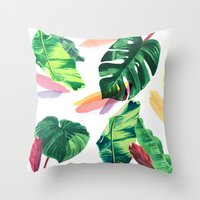palm Throw Pillows featuring PALM by Ellie Cryer