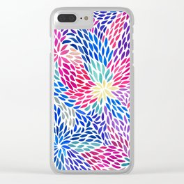 Flowing Leaves Purple & Blue Pattern Clear iPhone Case