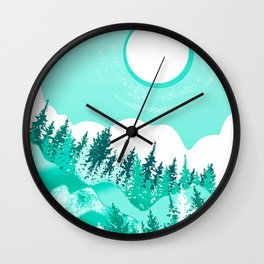Green forest and mountain with white moon Wall Clock