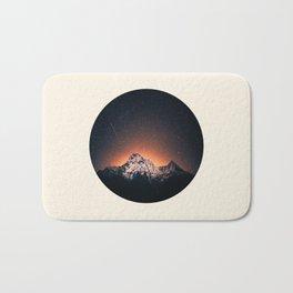 Glowing Star Sky Behind Snow Mountain Round Photo Vintage Bath Mat