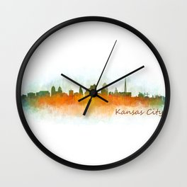 Kansas City Skyline Hq v3 Wall Clock
