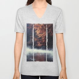 Nature's Mirror - Fall on the River Unisex V-Neck