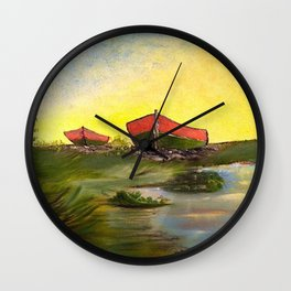 Days End   Oil on Canvas Wall Clock
