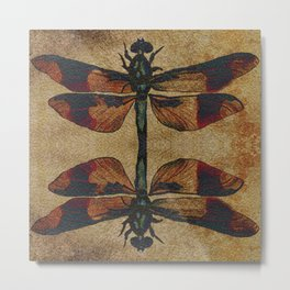 Dragonfly Mirrored on Leather Metal Print