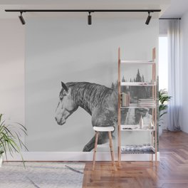 Horse | Abstract Photography | Art | Black-and-White | Animal | Double-Exposure | B&W | Fog Wall Mural