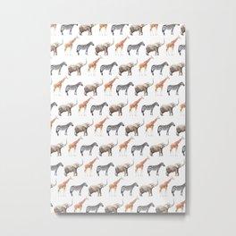 Animals, Elephant, Giraffe, Zebra, Zoo, Kids, Nursery, Minimal, Pattern, Modern art Metal Print