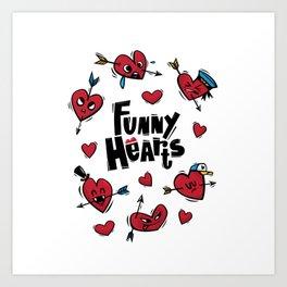 """Funny hearts"" Art Print"