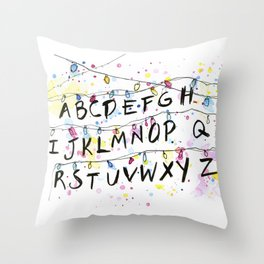 Alphabet Wall Christmas Lights Throw Pillow