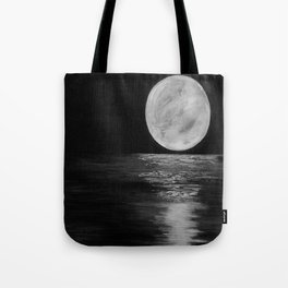 Moonlit. Sunset, water, moon, full moon, orginal painting by Jodilynpaintings. Black and white Tote Bag