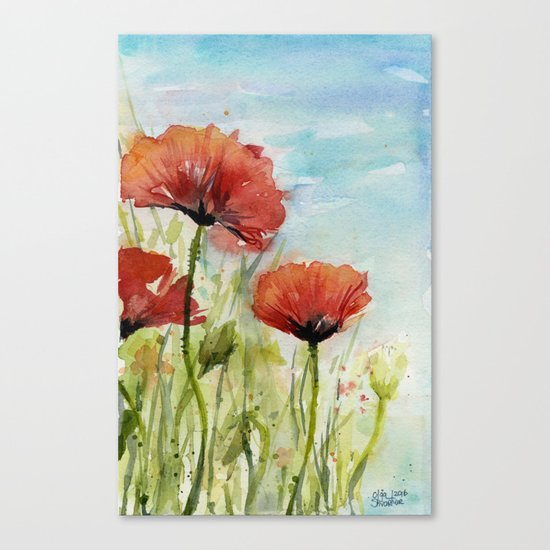 Red Flowers Watercolor Landscape Poppies Poppy Field Canvas Print