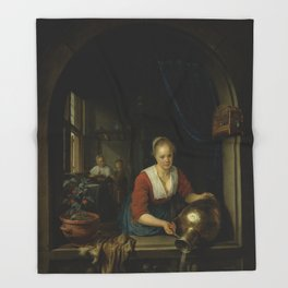 """Gerard Dou """"Maid at the Window"""" Throw Blanket"""