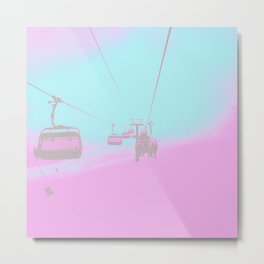 Chair Lift into the Blue Metal Print