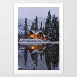 Cabin in Winter Woods (Color) Art Print