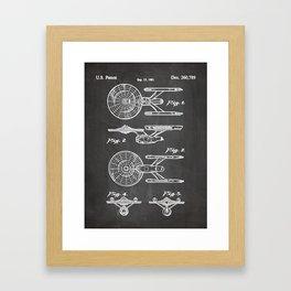 Startrek Uss Enterprise Patent - Trek Art - Black Chalkboard Framed Art Print