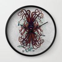 cthulu Wall Clocks featuring Cthulu by Sybille Sterk