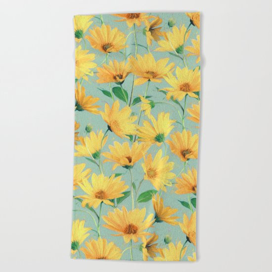 Painted Golden Yellow Daisies on soft sage green Beach Towel