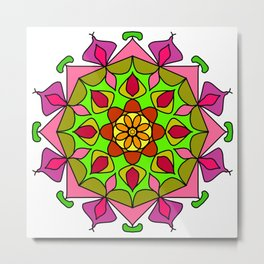Single Mandala with Abstract Foliage Metal Print