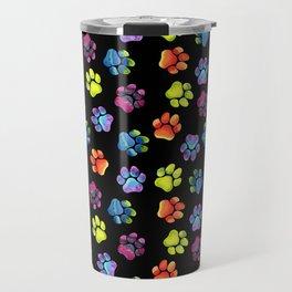 Black Rainbow Paw Print Pattern Travel Mug
