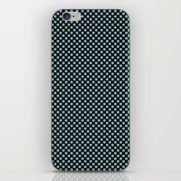 Black and Aqua Haze Polka Dots iPhone Skin