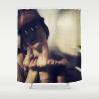 hipster Shower Curtains featuring hipster by neutral density
