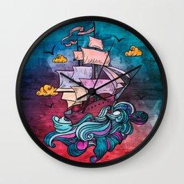 Fantasy Pastel Ship Wall Clock