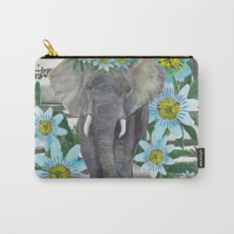 Elephant and passin flowers Carry-All Pouch