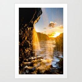 Kauai, Hawaii Golden Hour Waterfall Art Print