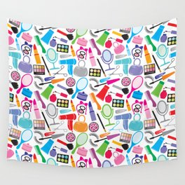 make up collection background (seamless pattern, beauty and makeup design) Wall Tapestry